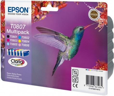 Náplně do Epson Stylus Photo PX800FW, sada cartridge pro Epson černá, azurová, purpurová, žlutá, světle azurová, světle purpurová