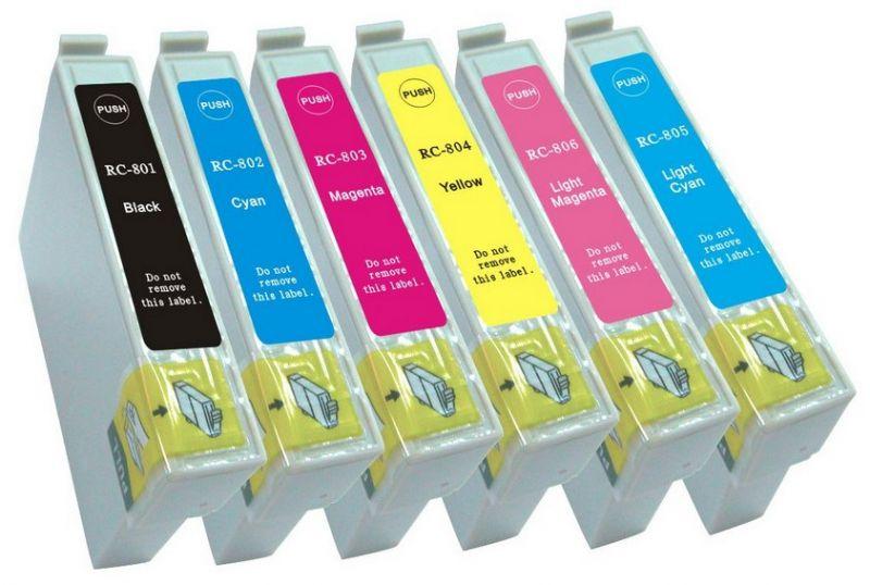 Náplně do Epson Stylus Photo RX585, sada náhradních cartridge pro Epson černá, azurová, purpurová, žlutá, světle azurová, světle purpurová