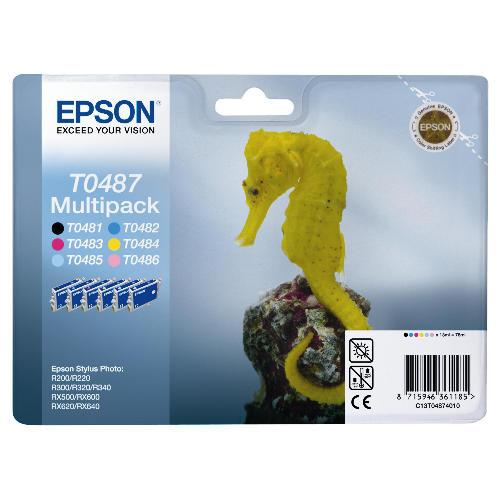 Náplně do Epson Stylus Photo RX500, sada cartridge pro Epson černá, azurová, purpurová, žlutá, světle azurová, světle purpurová